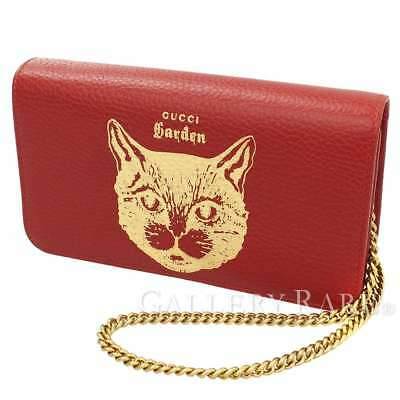 6fd98497bfd06d GUCCI Garden Calf Leather Red 521552 Cat Chain Shoulder Bag Italy Auth  5113514
