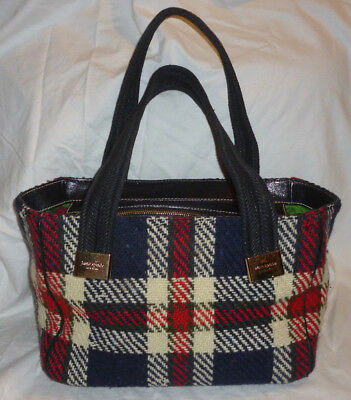 RARE kate spade MACKINAC TOTE Tweed Wool PLAID blue red ivory blk +polka LEATHER