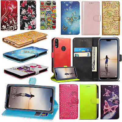 For Huawei P20 Lite - New Stylish PU Leather Wallet Stand Magnetic Case Cover