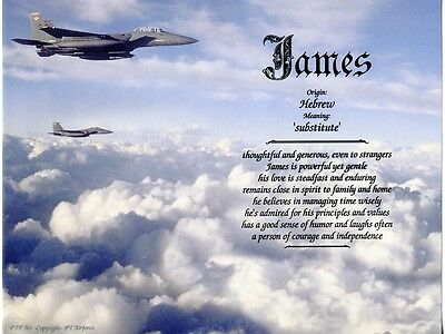 Air Force Themed Name Meaning Prints Personalized (Military, Jets) A