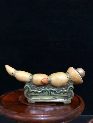 China Qing Dynasty Pastel Lotus root snuff bottle statue