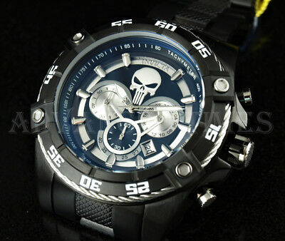 Invicta Speedway Viper Marvel PUNISHER Chronograph Black Ion Plated SS Watch NEW