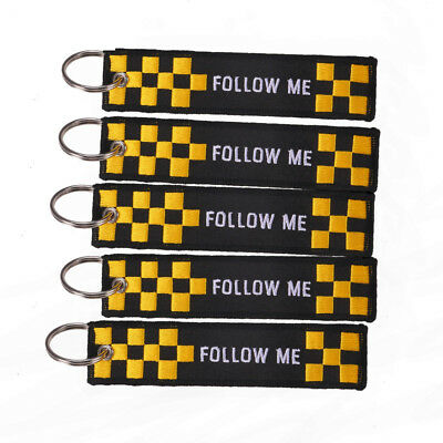 Embroidery Keychains - FOLLOW ME- Luggage Tag Keychain Cars Keyrings Black