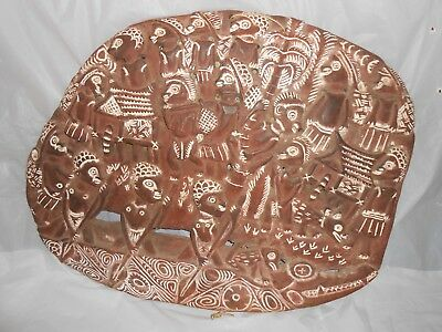 Vintage Papua New Guinea Kambot Carved Wood Relief Story Board