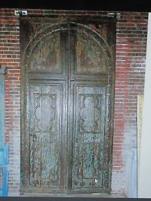 Architectural Large Anglo India Painted Teak Double Door/S