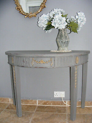 Vintage french style shabby chic painted mahogany hall table / side table