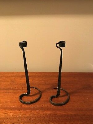 """Antique Primitive Hand Forged Iron Candle Holders One Of A Kind 10 1/4"""""""