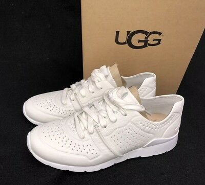 bc3376ecdf0 UGG AUSTRALIA TYE Lace Up Leather Perforated Fashion Sneakers 1092577 White