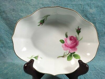 MEISSEN Pink Rose Candy Oval Bowl Crossed Swords Ruffled Rim Gold GERMANY