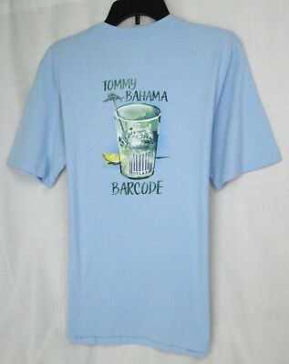 b7cbe641b Tommy Bahama 'BAR CODE' Graphic Tee Shirt in Opal Blue MSRP $49.50 NWT -