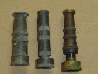 Lot of 3 Vintage Brass Water Hose faucet nozzle Nelson USA Industrial art tool