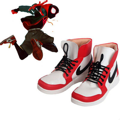 2018 Movie Spider-Man Into the Spider-Verse Miles Morales Cosplay Shoes Leather