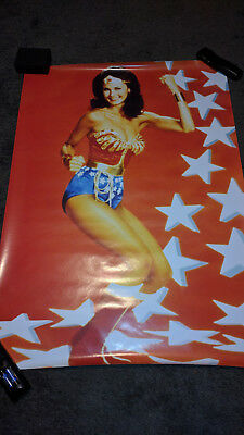 Wonder Woman poster Stars and Whip Old Vintage 24x36 Lynda Carter 1970s MINT Oop