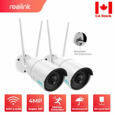 2x Reolink 4MP Wireless Security Camera 2.4/5G Dual-Band WiFi SD Card Slot 410W