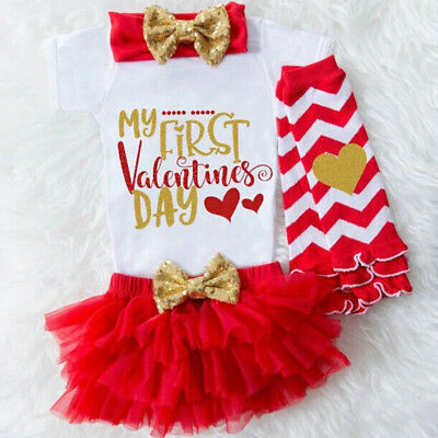 3PCS Baby Girl 1st Valentine's Day Tops Romper Tulle Tutu Skirt Outfits Clothes