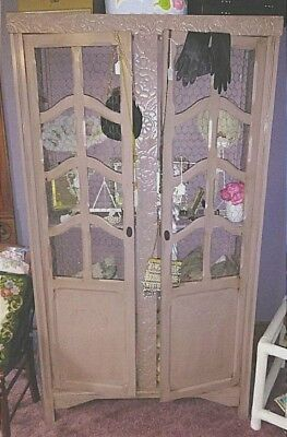 French Country Antique Cabinet Chicken Wire Doors