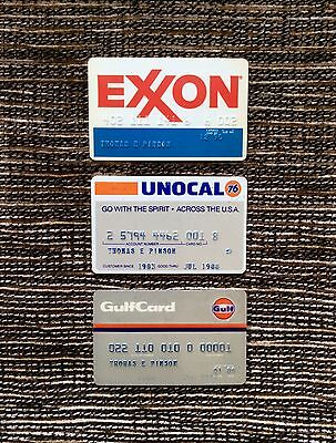 RARE 3 Lot Expired Collector's Gasoline Credit Cards: Exxon, Unocal 76, Gulf Oil
