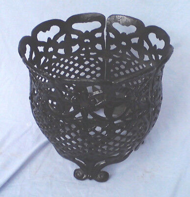 "Vintage Cast Iron Footed Planter Jardinière Garden Basket Openwork 12"" vase"