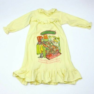 Vintage 80s Sweet Pickles Yellow Nightgown Pajamas Gown Girls Size 2/3 Years