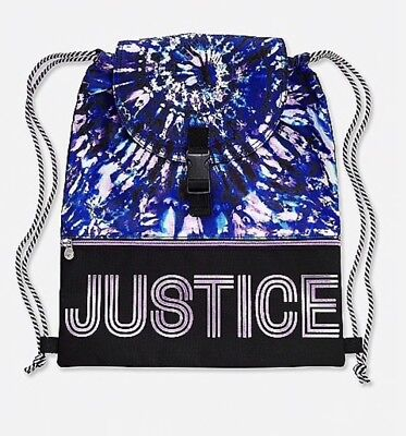 NWT Justice Kids Girls Sporty Blue Flip Sequin Lacrosse Drawstring Backpack Bag