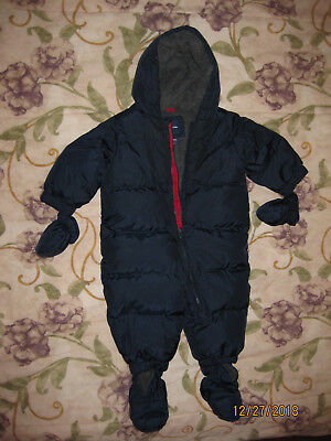 6425b4493 BABY GAP NAVY Blue Warmest DOWN Puffer 1-piece SNOWSUIT  12 18 ...