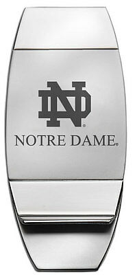 New! University of NOTRE DAME ENGRAVED SILVER MONEY CLIP Fighting Irish fan gift