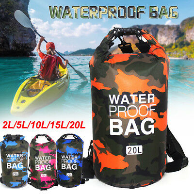 2-20L Waterproof Dry Bag Canoe Kayak Boating Camping Swimming Floating Sack lot