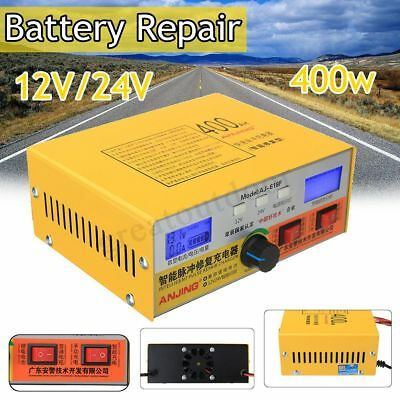 Automatic Intelligent Pulse Repair Type 12V/24V 400AH Car Battery Charger  Gift