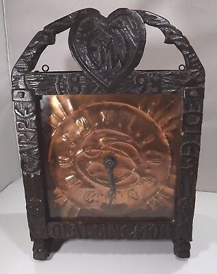 Antique Arts & Crafts Carved Oak-Cased Wall Clock with Copper Face - needs tlc