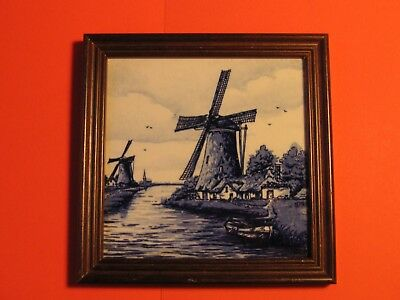 Vintage Delft Blue Tile In Wooden Frame Hand Painted Holland Nice Condition.