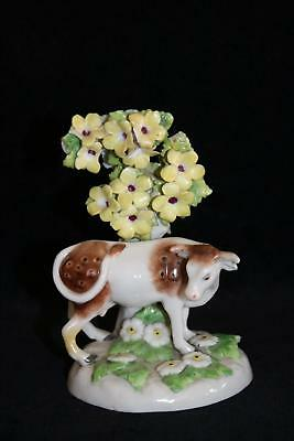 Rare 18thC Chelsea Bow Porcelain Figurine Gold Anchor Cow animal china figure