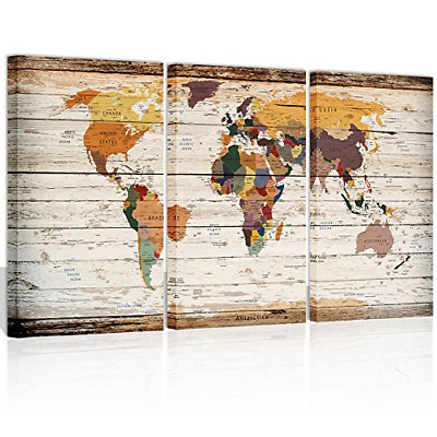Visual Art Decor Large Vintage World Map Canvas Prints Atlas Framed Map Wall to