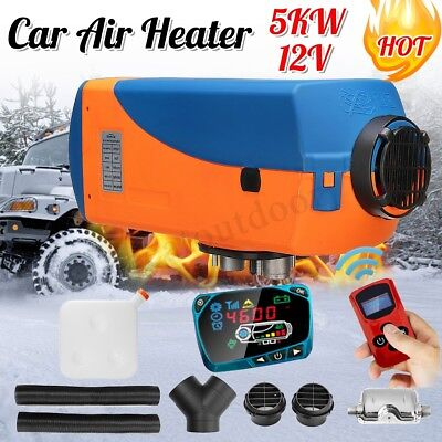 5KW 12V Diesel Air Heater LCD Switch Remote Silencer Fuel Tank Boat Car 5000W