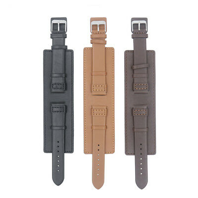 Fashion Men Military Army Cow Leather Watch Band Bund Strap Cuff Bangle 20mm