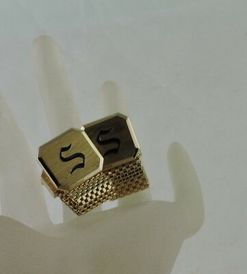 """Vintage Men's Cufflinks Gold Plated Mesh,""""s"""" Letter Mono Etched"""