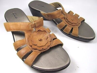 fc77472069b Clarks Bendables Comfort Sandals Brown Leather Womens Size 7.5 Shoes 36902