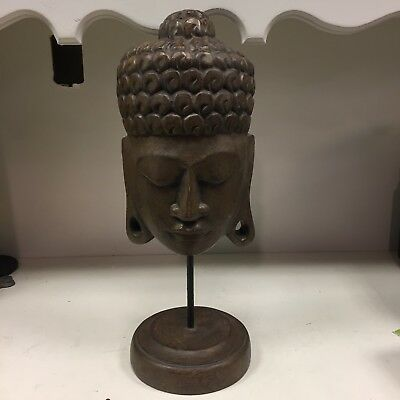 Thai Buddha Head On Stand Asian Oriental Home Decor Statue Meditation Room
