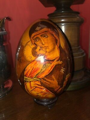 Incredible Antique 19th C Russian Madonna & Child Icon Egg