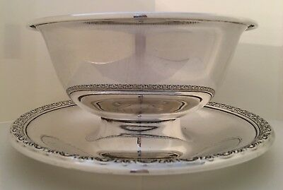 Sterling Silver Bowl & Attached Underplate Prelude-Plain by International Silver