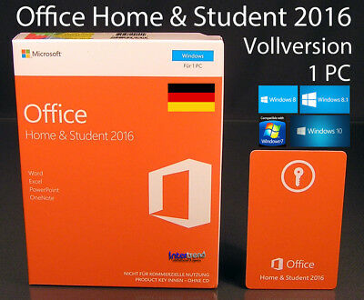 Microsoft Office Home & Student 2016 Vollversion Box 1 PC 32/64-Bit DE OVP NEU