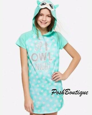 6fd0f4d922 NWT JUSTICE Girls Owl Hoodie Hooded Nightgown Pajama 10 12 14 16 18 20 ~  GLOW