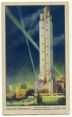 Havoline Thermometer 1933 Chicago Expo Postcard