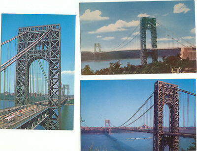 George Washington Bridge NYC Lot of 3 Vintage Postcards  - New York City