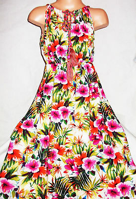 GIRLS RED GREEN MIX TROPICAL FLORAL PRINT BOHO FULL LENGTH PARTY DRESS age 9-10