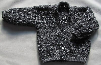 """Hand Knitted Babies Cardigan 16"""" chest Newborn (0-2 months) Charcoal (Grey Mix)"""