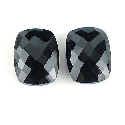 2 Pcs ~ 16mm/12mm Cushion Checker Cut Pair ~ Natural Black Onyx Finest Gemstones
