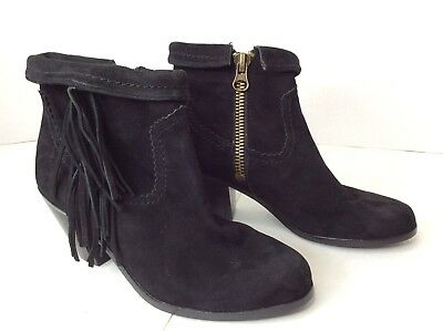 eda4f1f2a83a0e Sam Edelman Louie Fringe Bootie Black Genuine Suede Fold Over Ankle Boots  SZ 6