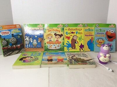LeapFrog Tag Jr Junior Pal Violet Pink Reading System Pen with 9 books USB LOT