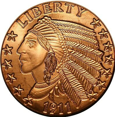 TUBE OF 20 $5 GOLD 1911 INCUSE INDIAN DESIGN 1 Ounce Of Copper Bullion ROUNDS