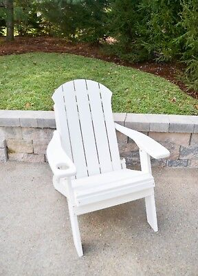 Seaside Folding Adirondack Chair with 1 Cup Holder - Poly Lumber